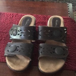 Brown leather slip on sandals
